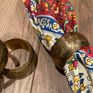 VTG Etched Brass Boho Napkin Ring Holders (4)